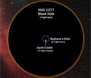 NGC 1277 গ্যালাক্সির কেন্দ্রে একটি ব্ল্যাক হোল পাওয়া গিয়েছে। ছবিসুত্রঃ D. Benningfield/K. Gebhardt/StarDate