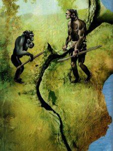 গ্রেট রিফট ভ্যালির এক দিকে বিবর্তিত হয়েছে মানুষ, অন্যদিকে বিবর্তিত হয়েছে শিম্পাঞ্জী। অলংকরণঃ Dave McKean
