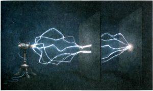 চিত্রঃ ইলেকট্রনের বহু পথ। [চিত্রে যেমন দেখানো হয়েছে, কোয়ান্টাম থিওরির ব্যাখ্যায় রিচার্ড ফাইনম্যানের মত হল, কোনো কণা উৎস থেকে পর্দায় যেতে সম্ভাব্য প্রতিটি পথ অতিক্রম করে।]